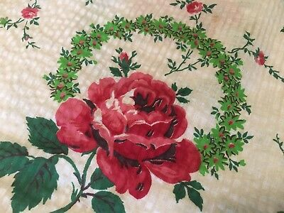 Vtg 40's Old Pink Rose Flower Seersucker Fabric Curtains for Cutter Doll Clothin