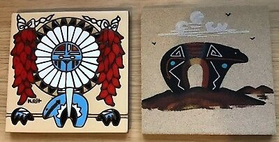 "Pair Native American Earthtones 6"" Glazed Tile & Sand Picture Bear Fetish"