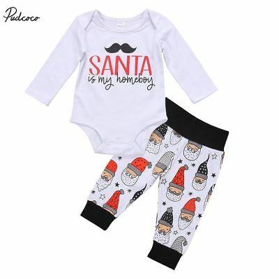 Newborn Infant Kids Baby Boys Girls Christmas Outfits Clothes Tops+Pants