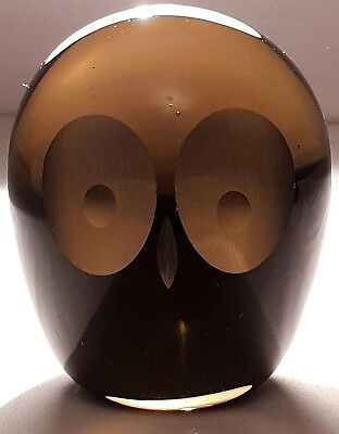 Whitefriars Art Glass Owl Paperweight in Twilight by Geoffrey Baxter
