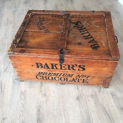 """Vintage Antique Walter Baker's Premium #1 Chocolate Co. Shipping Crate 29x22x14"""""""