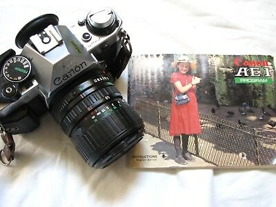 Canon AE-1 PROGRAM + Zoom FD 35-70mm F/3.5-4.5 Japan with manual UNTESTED