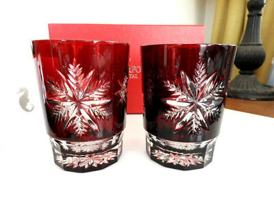 Waterford SNOW CRYSTALS Ruby Red Double Old Fashioned Glasses DOF PAIR NICE/BOX!