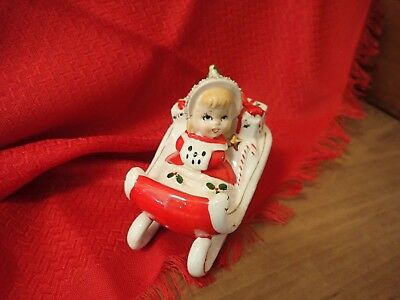 Vtg Christmas Girl In Red Sleigh w/ Pkgs & Candy Cane Figurine ~ Relco ~ Japan