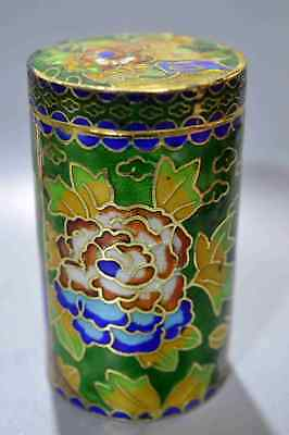 Collectable Chinese Cloisonne Carve Flower Ancient King Use Old Toothpick Box