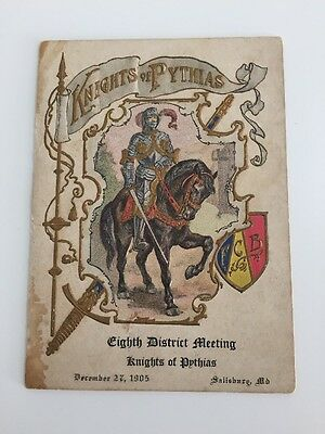 Antique 1905 Knights of Pythias Embossed Program/Card Eighth District Meeting MD
