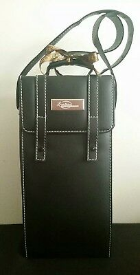 Faux Leather Wine Caddy Carry Case: Empty Sealed Collectors Bottle & Accessories