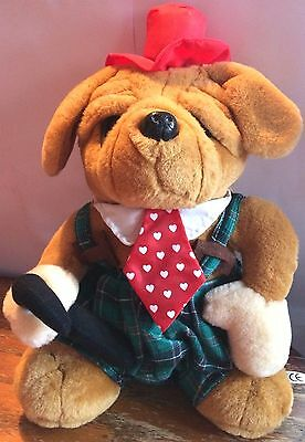 d07f51a7e1f 16 Inch BULLDOG SOFT TOY - iN TARTAN DUNGAREES WITH RED TOP HAT   TIE PLUS