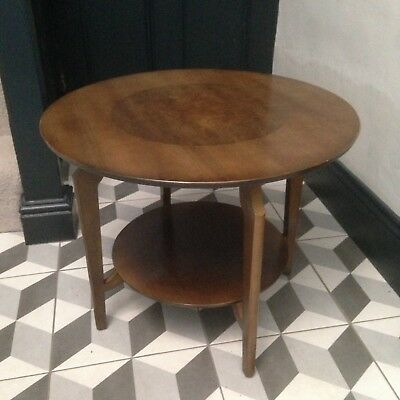 "Vintage Remploy Mid Century Circular Coffee / Side Table - Wood 24"" Dia."