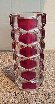 """Vintage Large J.G. Durand Geometric Red French Glass Vase 9.5"""""""