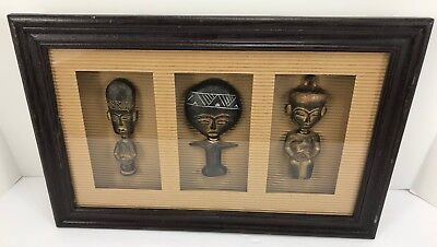 African 3 Idols Shadowbox Statue Mask Picture 9x14