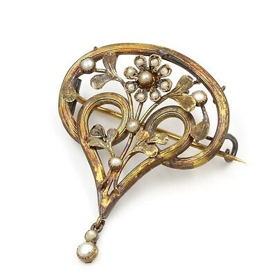 Antique Art Nouveau 14K Yellow Gold Seed Pearl Floral Pin #300B-10