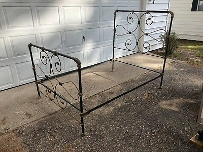 Vintage Antique Ornate Victorian Wrought Iron Bed with Rails : Full Double Size