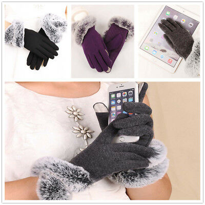 Women's Winter Gray Touch Screen Gloves Knitted Faux Fur Cuff Thick Soft Mittens