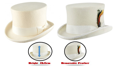 5b6b06199a9d4 ... 5e3e6827505 Satin Lined White Top Hat 100% Wool Felt Supreme Quality  Wedding Ascot Party ...