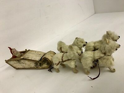 Rare Antique Germany Paper Mache Santa Claus On Candy Sleigh With Fur Sled Dogs