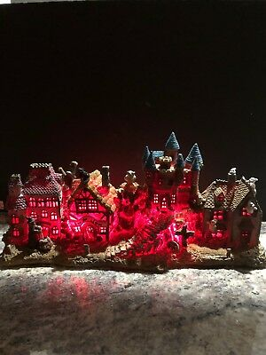 """Vtg Halloween House Haunted Lighted Ghost Witch Trick 19"""" Long Village 9"""" Tall"""