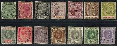 BRITISH COLONY - MAURITIUS Early lot of 14 stamps Used Postage (1885-1938)