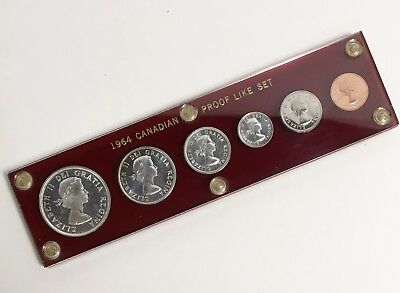 1964 Royal Canadian Mint Proof Like 6 Coin Set 80% Silver in Acrylic Holder