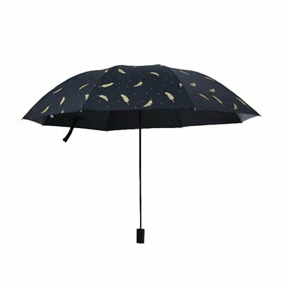 Portable Sun Umbrella Bronzing Feather Pattern Dual Anti UV Rain/Sun Umbrellax^