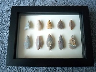 Neolithic Arrowheads in 3D Picture Frame, Authentic Artifacts 4000BC (0879)