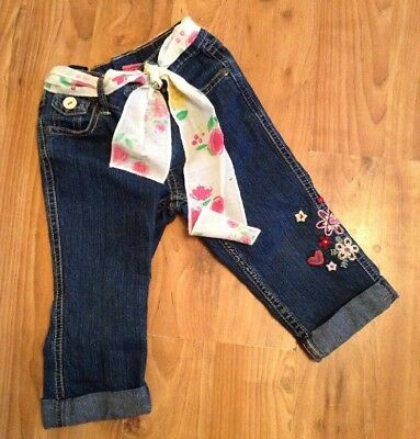 Baby Girls Age 3 Years Cropped Pumpkins Patch Pretty Jeans Vgc