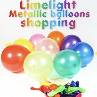 "20 Metallic Plain12"" Baloons Ballons Helium Balloons Quality Birthday Wedding Uk"