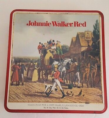 Vintage Collectible Johnnie Walker Red Whiskey Tin Pre Owned NO Alcohol