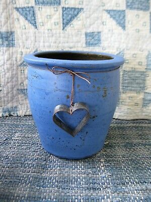 Early Antique Crock Blue Milk Paint with Tin Heart Cookie Cutter Free Shipping