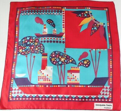 Jacques Fath silk scarf - 1970s - Red / Turquoise Blue - Graphic Ships - Large