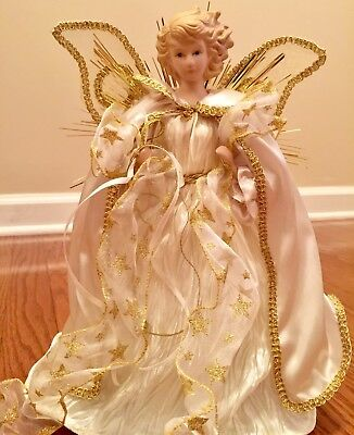 Gold and White Pearl Angel Christmas 12 inch Tree Topper Beautiful