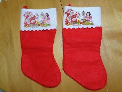 Pair of Vintage Snow White and the 7 Dwarfs Felt Stocking Christmas Walt Disney