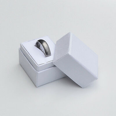 White Ring Jewelry Box - Length 1-1/2 x Width 1-1/4 x Height 1-1/2 Inches