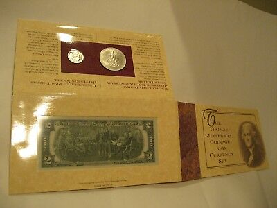 The Thomas Jefferson 90% Silver Coinage & Currency Set Uncirc. With The Coa.