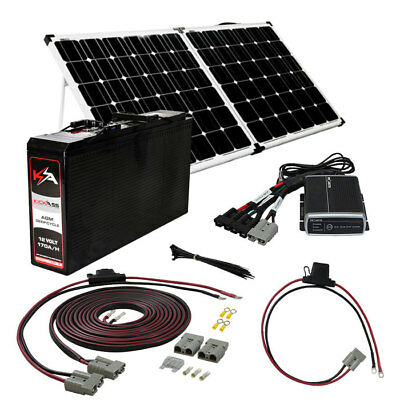 KICKASS 170AH Slim Battery 4WD 200W Portable Solar Panel DCDC Charger 12V Kit