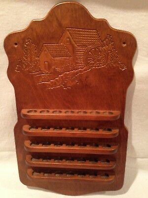 """Vintage Pressed Wood 35 Thimble Display Holder Wall Hanging """"Old Mill"""" Carving"""