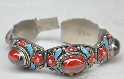 Beautiful China Old Tibet Dynasty Palace Cloisonne Silver Inlaid Jade Bracelet