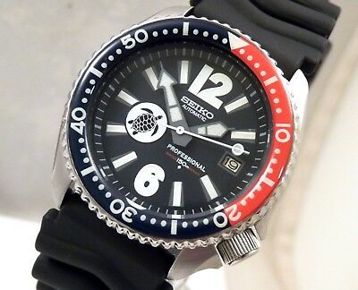 Seiko Ceramic Pepsi 'Turtle' Giant Markers Blue Automatic Date Watch Custom 7002