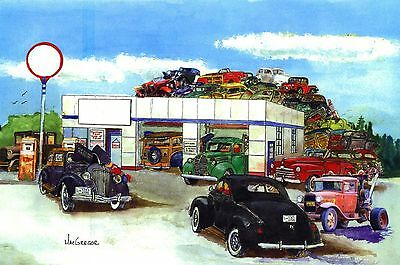 PERSONALIZED FORD GARAGE ART PRINT V8 Flathead Hot Rat Street Rod Coupe Gift for