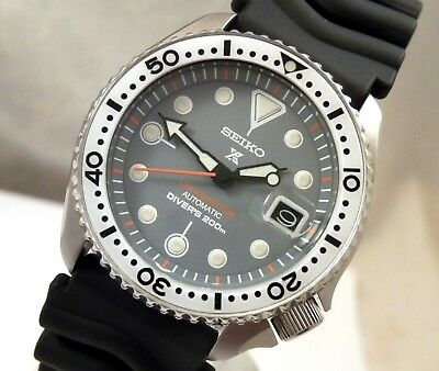 Seiko 'Prospex Zimbe' Mod Grey Cyclops Date Automatic Divers Watch Custom 7002