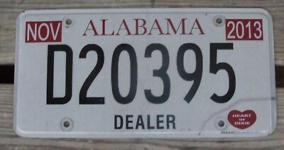 2013 Alabama Dealer License Plate Heart Of Dixie Tag D20395 Low S&h