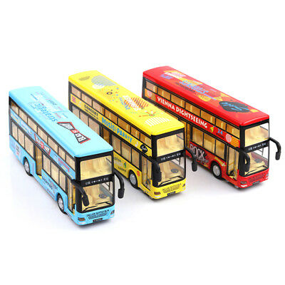 Double-Decker Sound Light Metal Tour London City Bus Pull Back Car Kids Toy Gift