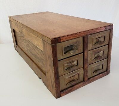 Antique vintage Oak 6 Drawer Card Library File Cabinet metal drawers