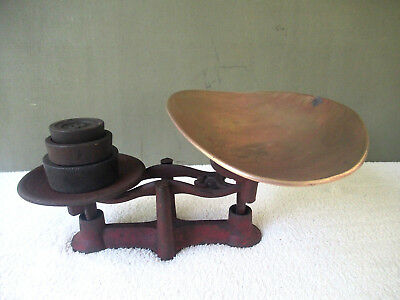 Antique Balance Scale Primitive General Store Cast Iron, 3 Weights, Brass Tray