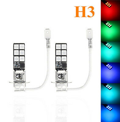 2x H3 5050 RGB LED 12SMD Car Headlight Fog Light Lamp Bulb Remote Control