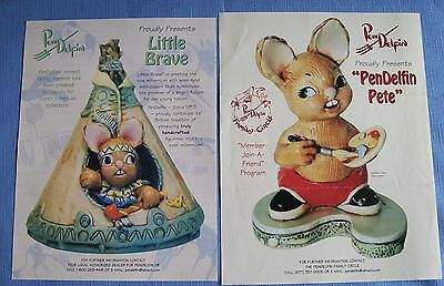2 Pendelfin GLOSSY EXCLUSIVE ADVERTISING SHEETS LITTLE BRAVE & Pendelfin PETE