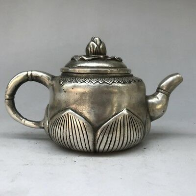 Can Collect Tibetan Silver Hand Carved Lotus Statue Teapot Qianlong Mark