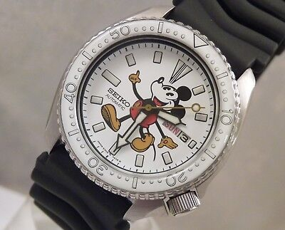 Seiko White Ceramic Mickey Mouse Automatic Day Date Diver's Watch Custom 6309