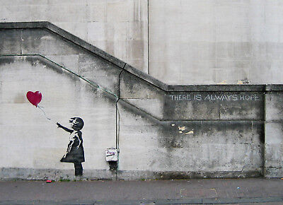 "Banksy, There Is Always Hope, Graffiti Art, Giclee Canvas Print, 11.5""x16"""