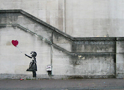 "Banksy, There Is Always Hope, Graffiti Art, Giclee Canvas Print, 16""x22"""